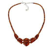 Jay King Sterling Silver Amber Station Necklace