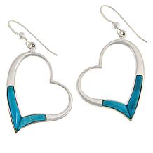 Jay King Sterling Silver Andean Turquoise Heart Drop Earrings