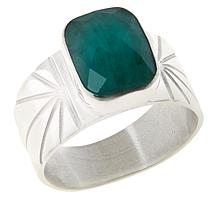 Jay King Sterling Silver Cushion-Cut Emerald Ring