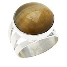 Jay King Sterling Silver Golden Cat's Eye Quartz Round Ring