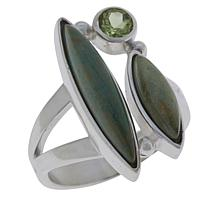 Jay King Sterling Silver No. 7 Yellow Turquoise and Peridot Ring