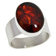 Jay King Sterling Silver Oval Cherry Amber Ring