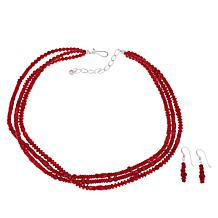 Jay King Sterling Silver Red Coral 3-Strand Necklace and Drop Earrings
