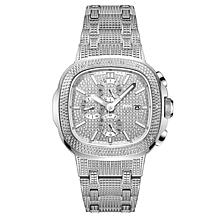 "JBW ""Heist"" Men's Silvertone .20ctw Diamond Bracelet Watch"
