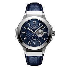 """JBW Men's """"Saxon"""" 16-Diamond Silvertone Blue Leather Watch"""
