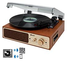 Jensen JTA-245 3-Speed Dual Bluetooth Turntable with Cassette Player