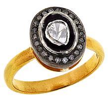 Joya Two-Tone Sterling Silver Polki Diamond Oval Pavé Ring