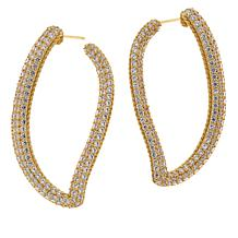Judith Ripka Sterling Silver Diamonique® Wavy Pavé Hoop Earrings