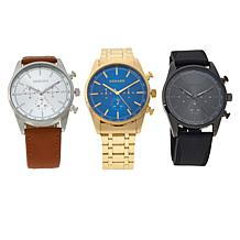 Kessaris Set of 3 Men's Sunray Dial Watches