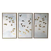 "Kroll Creations Golden Birds Triptych 48"" x 30"" Floating Canvas Art"