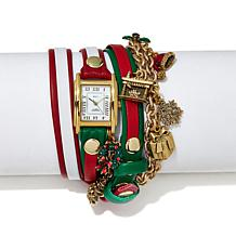 La Mer Goldtone Dial Christmas Charm Wrap-Design Watch
