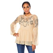 LaBellum by Hillary Scott Embellished Top with Camisole
