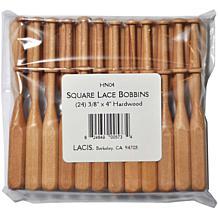 "Lacis 24-pack Square Hardwood Lace Bobbins - 3/8"" x 4"""