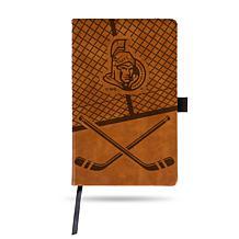 Laser-Engraved Brown Notepad with Elastic Band - Senators