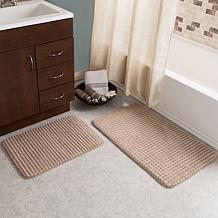 Lavish Home Jacquard Fleece Memory Foam 2pc Bath Set