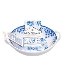 Le Cadeaux Two-Handle Bowl and Tea Towel Set
