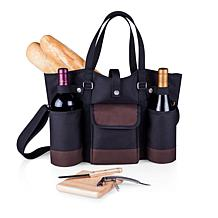 Legacy by Picnic Time Wine Country Tote - Black with Burgundy Accents