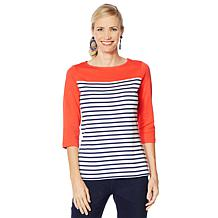 Lemon Way Perfect Pima Striped Boat Neck Top