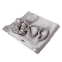 Locks & Mane 100% Silk 3-Piece Scrunchie Set with Pillow Case