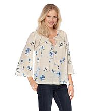 Lucky Brand Mesh Lace Peasant Top - Missy