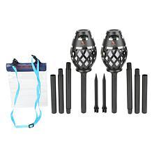Margaritaville 2-pack Tiki Torch Bluetooth Speakers w/Ground Sticks