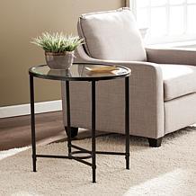 Melinda Metal/Glass Oval Side Table - Black