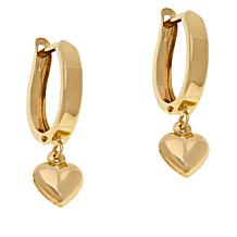 Michael Anthony Jewelry® 10K Yellow Gold Heart Charm Hoop Earrings