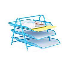 Mind Reader Desk Organizer with 3 Sliding Paper Trays - Yellow