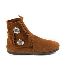 Minnetonka Suede 2-Concho Hardsole Moccasin Boot
