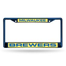 MLB Colored Laser-Cut Chrome License Plate Frame -  Brewers