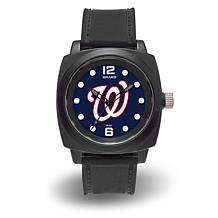 "MLB Sparo Team Logo ""Prompt"" Black Strap Sports Watch - Nationals"