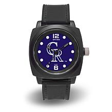 "MLB Sparo Team Logo ""Prompt"" Black Strap Sports Watch - Rockies"