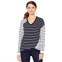 Motto Striped Sweater Hthrgr 3x