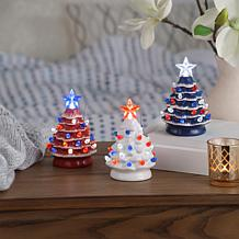 Mr. Liberty Set of 3 Ceramic Battery-Operated Mini Trees