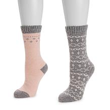 MUK LUKS® Women's 2-Pair Pack Wool Boot Socks