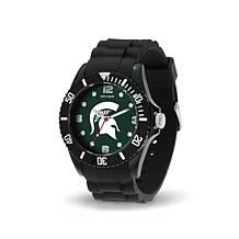 NCAA Team Logo Spirit Black Rubber Strap Sports Watch - Michigan State