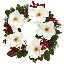 """Nearly Natural 26"""" Magnolia, Pine & Berries Wreath"""