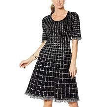 Nina Leonard Jacquard Fit and Flare Sweater Dress