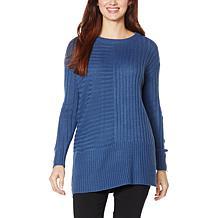 Nina Leonard Mixed Ribbed Boxy Sweater