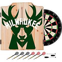 Officially Licensed NBA Dart Cabinet Set - Fade - Milwaukee Bucks