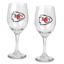 Officially Licensed NFL 2-piece Wine Glass Set-Chiefs