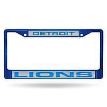 Officially Licensed NFL Laser-Cut Chrome License Plate Frame -  Lions