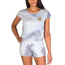 Officially Licensed NFL Marina Ladies Knit SS Romper - Vikings
