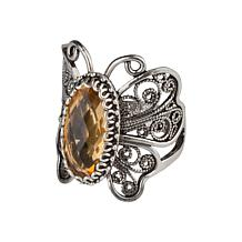 Ottoman Silver Gemstone Filigree Butterfly Ring