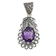 Ottoman Silver Jewelry 4ct African Amethyst Blossom Pendant