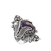 Ottoman Silver Jewelry 7.2ct Amethyst Floral Ring