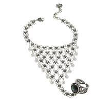 Ottoman Silver Jewelry Labradorite Princess Glove Bracelet-Ring