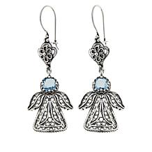 Ottoman Silver Jewelry Round Gemstone Angel Drop Earrings