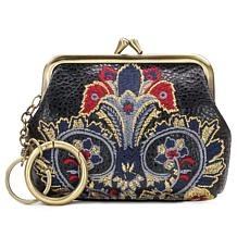 Patricia Nash Borse Leather Embroidered Coin Purse