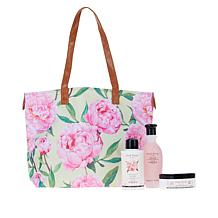 Perlier Pink Peony 3-piece Set with Tote